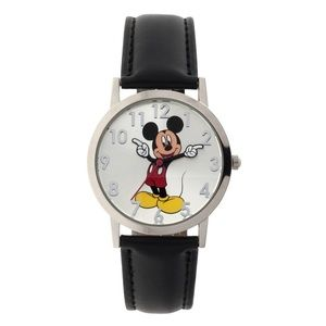 Disney Mickey Mouse Round Silver and Black Watch